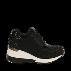 Sneakers nere in lycra con strass, zeppa 6 cm , Primadonna, 16A718206LYNERO036, 001a