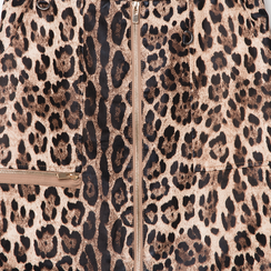 Minigonna leopard in eco-pelle con zip, Abbigliamento, 136501801EPLEOPL, 002a