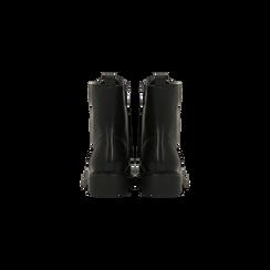 Anfibi neri con catenelle, tacco basso, Scarpe, 120618152EPNERO, 003 preview