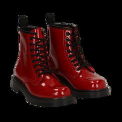 Anfibi rossi in vernice, Stivaletti, 142801501VEROSS035, 002 preview