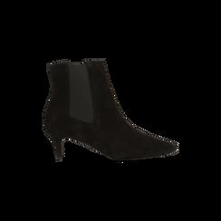 Stivaletti Chelsea neri in vero camoscio, tacco midi 6 cm, Primadonna, 12D618401CMNERO036, 001 preview