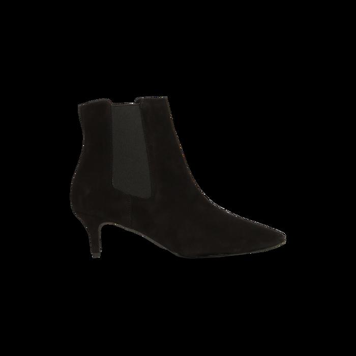 Stivaletti Chelsea neri in vero camoscio, tacco midi 6 cm, Primadonna, 12D618401CMNERO036