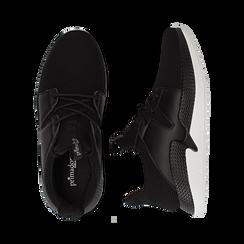 Sneakers nere in tessuto tecnico e suola wave, Scarpe, 132619310TSNERO036, 003 preview