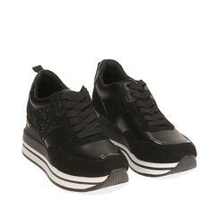 Sneakers nere, zeppa 6 cm , Primadonna, 182817233EPNERO035, 002a