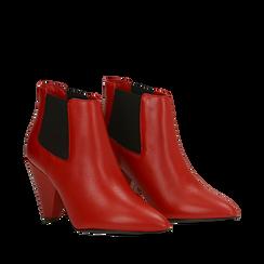 Chelsea Boots rossi in vera pelle, tacco a cono 9 cm, Primadonna, 12D613910VIROSS036, 002a