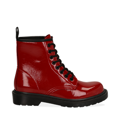 Anfibi rossi in vernice, Stivaletti, 142801501VEROSS036, 001a