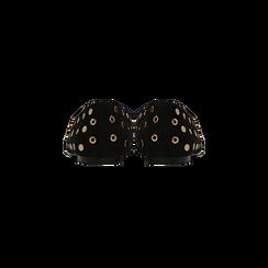 Ballerine nere in microfibra scamosciata e mini-borchie, tacco basso, Primadonna, 124991821MFNERO035, 003 preview
