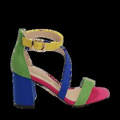 Sandali multicolor in microfibra, tacco 8 cm, Scarpe, 152152920MFMULT035, 001a