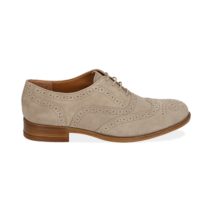 Derbies taupe en Nubuck, Chaussures, 159908418CMTAUP037