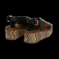 Sandali platform neri in eco-pelle, zeppa intrecciata 5 cm, Primadonna, 132117952EPNERO, 004 preview