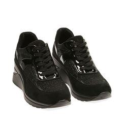 Sneakers nere in tessuto, zeppa 6 cm , Primadonna, 182819404TSNERO035, 002a