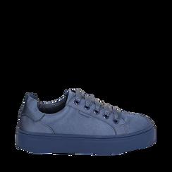 Sneakers celesti in tessuto, suola 4 cm, Scarpe, 142509512TSCELE036, 001a