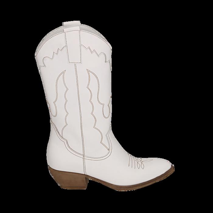 Santiags blanche en cuir, talon 4 cm, Primadonna, 157732902PEBIAN036