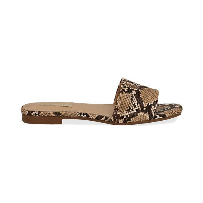 Mules flat beige in eco-pelle, effetto snake skin, Primadonna, 132708189PTBEIG037