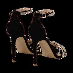 Sandali neri in raso con strass argento, tacco stiletto 11 cm, Scarpe, 132120689RSNERO035, 004 preview