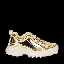 Dad shoes oro in vernice mirror con maxi-suola, Scarpe, 130101201SPOROG035, 001a