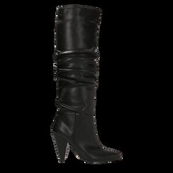 Stivali neri gambale drappeggiato, tacco a cono 10 cm, Scarpe, 124911206EPNERO, 001 preview