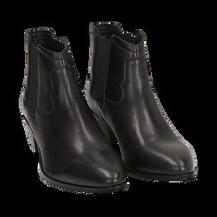 Chelsea boots neri in pelle di vitello, tacco 3,5 cm, Primadonna, 15J492413VINERO036, 002 preview