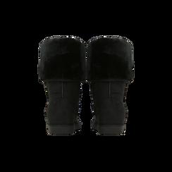 Scarponcini invernali scamosciati neri con risvolto in eco-fur, Scarpe, 125001204MFNERO036, 003 preview
