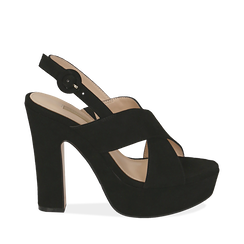 Sandali neri in microfibra, tacco 12,50 cm , Primadonna, 158480412MFNERO035, 001a