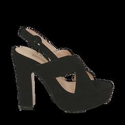 Sandali neri in microfibra, tacco 12,50 cm , Chaussures, 158480412MFNERO036, 001a
