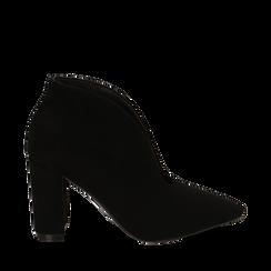 Ankle boots neri in microfibra, tacco 10,50 cm , 162183310MFNERO036, 001a