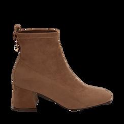 Ankle boots taupe in microfibra, tacco trapezio 6 cm , Stivaletti, 142707121MFTAUP035, 001a