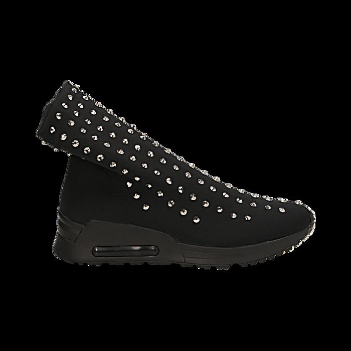 Sneakers nere slip-on in lycra con cristalli, Primadonna, 122808611LYNERO035