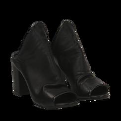 Mules nere in pelle, tacco 8 cm, Scarpe, 135600917PENERO036, 002a