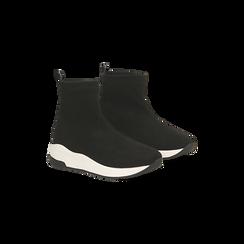 Sneakers trainer nere con suola super light, 129367111MFNERO036, 002