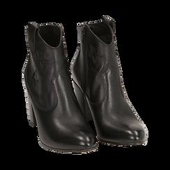 Ankle boots neri in pelle con stelle ricamate, tacco 7,50 cm, Primadonna, 157725907PENERO036, 002 preview