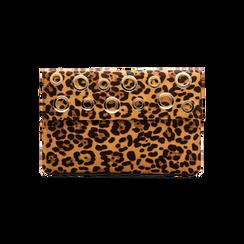 Pochette bustina leopard in microfibra con oblò dorati,