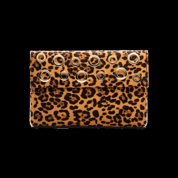 Pochette bustina leopard in microfibra con oblò dorati, Saldi, 123308604MFLEOPUNI
