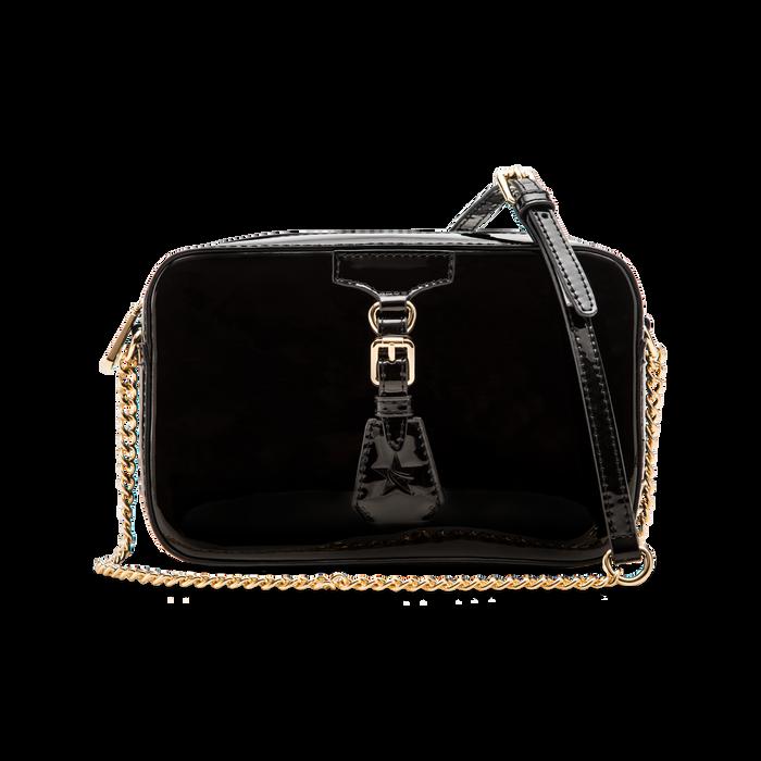 Camera bag nera con tracolla, ecopelle vernice, Borse, 121818008VENEROUNI