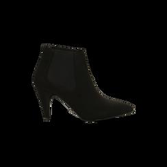 Stivaletti Chelsea neri con tacco medio a cono 8 cm, Primadonna, 124985789MFNERO, 001 preview