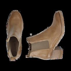 Chelsea boots cuoio in pelle, tacco 6 cm, Mid Season Sale, 157711439PECUOI035, 003 preview