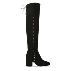 Stivali sopra il ginocchio neri mini-borchie oro, tacco 7,5 cm, Primadonna, 122181620MFNERO035, 001a