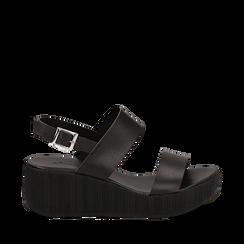 Sandali platform neri in eco-pelle, zeppa 5 cm , Saldi Estivi, 13C700258EPNERO035, 001a