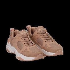Dad shoes nude in microfibra, zeppa 4,50 cm, Sneakers, 142619462MFNUDE035, 002a