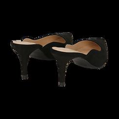 Mules nere in microfibra, tacco 7,50 cm , Scarpe, 152133675MFNERO036, 004 preview