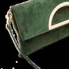 Pochette verde in microfibra scamosciata, Saldi Borse, 123308714MFVERDUNI, 003 preview