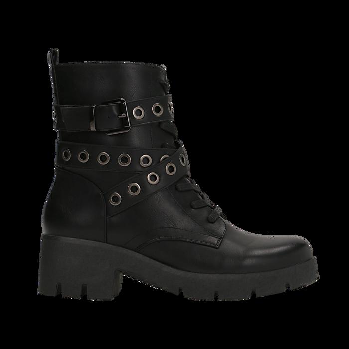 Anfibi neri con mini-oblò alla caviglia, Primadonna, 129328613EPNERO