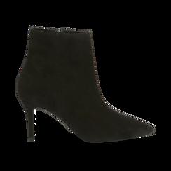 Tronchetti neri in vero camoscio, tacco midi 8 cm, Primadonna, 12D618502CMNERO, 001 preview