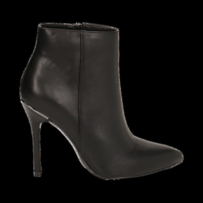Ankle boots neri in eco-pelle, tacco 10, 50 cm , Scarpe, 142168616EPNERO035