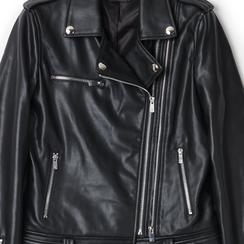 Biker jacket nera in eco-pelle,