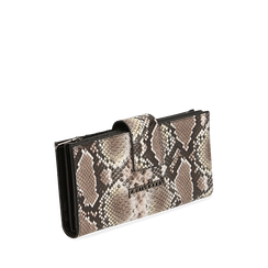 Portefeuille blanc/noir imprimé python, Primadonna, 165122158PTBINEUNI, 002a