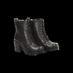 Anfibi neri con lacci e carrarmato, tacco 7 cm, Primadonna, 120800804EPNERO035, 002