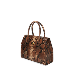 Borsa a mano marrone stampa pitone, Primadonna, 165702704PTMARRUNI, 002a