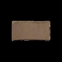 Portafoglio taupe in microfibra scamosciata con 12 vani, Borse, 122200022MFTAUPUNI, 002 preview