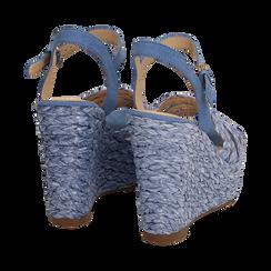 Sandali azzurri in rafia, zeppa 12 cm , Zapatos, 154978888RFAZZU038, 004 preview